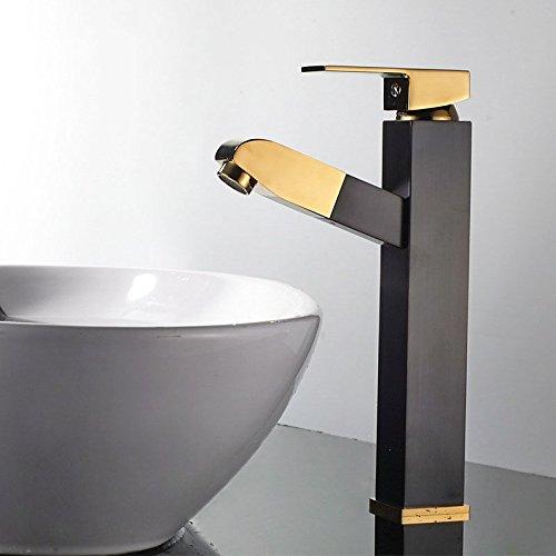 ETERNAL QUALITY Badezimmer Waschbecken Wasserhahn Messing Hahn Waschraum Mischer Mischbatterie Tippen Sie auf die Bäder sind stilvoll in Schwarz und Gold-Kupfer Platz zie