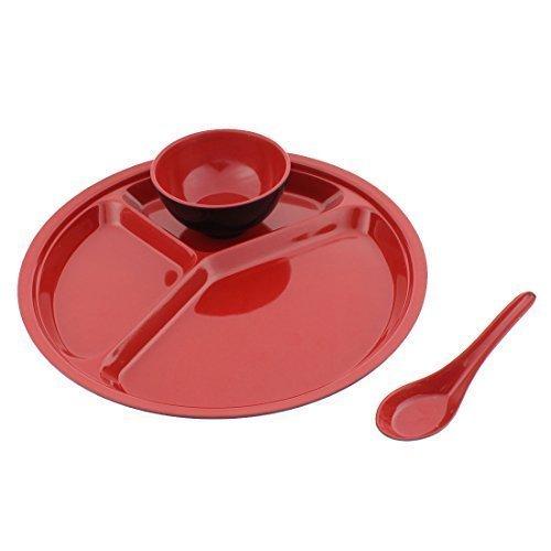 sourcingmap® School ristorante 3 scomparti, Piatto diviso in tre per bambini, ciotola, cucchiaio, 3 in 1