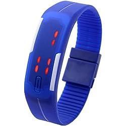 JSDDE Gel Rubber Bracelet Silicon Touch Screen LED Digital Unisex Sports Watch - Deep Blue