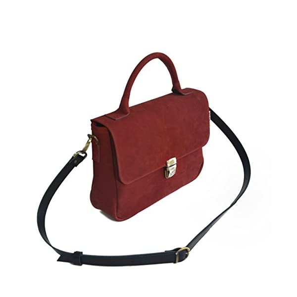 Women handbag with strap; red leather; eco-friendly - handmade-bags