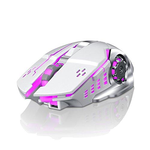 Drahtlose Maus 2.4G USB Drahtlose Mäuse Optischer PC Laptop Computer Schnurlose Maus mit Nano Empfänger 6 Tasten Buntes Glühen Mehrere Farben verfügbar (Farbe : Weiß)