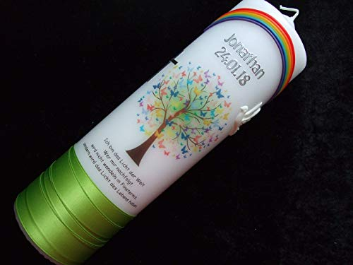 Taufkerze Lebensbaum mit Regenbogen 25x7cm - Taufkerzen Sonderanfertigung nach Kundenwunsch (Name/Datum/Taufspruch) Junge hellgrün