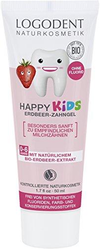 LOGODENT Naturkosmetik HAPPY KIDS Erdbeer Zahngel, Für gesunde und starke Milch- und Kinderzähne, Frei von synthetischen Fluoridzusätzen, 3x50ml