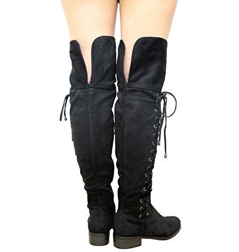 13ec5b7216eea5 Saute Styles , Bottes cuissardes femme Daim noir BestSeller ...