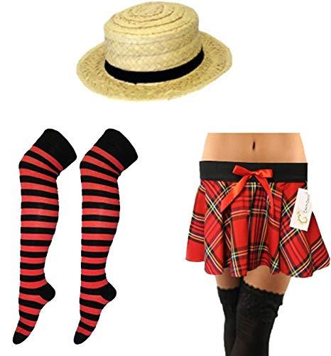 Geek Lady Kostüm - Islander Fashions und Weisedamen-Aussenseiter-Sonderlings-Schulkost�m-Zusatztartan-Rock Stripes Socken-Strohhut gro� / X gro�