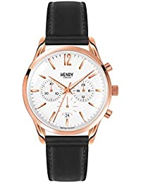 Henry London Unisex Richmond Quartz Watch with White Dial Chronograph Display and Black Leather Strap