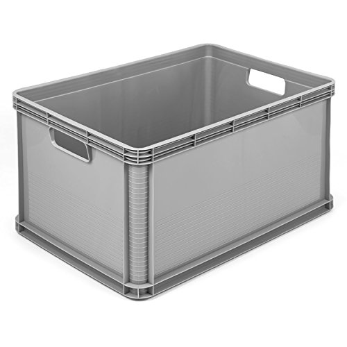 3 x 64 L Lagerkiste Euro Box Stapelbox Transportbox Palettenbox Kiste grau