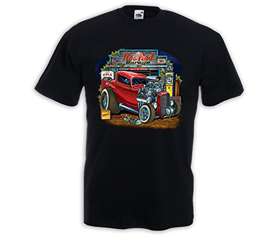Rockabilly T-Shirt Hot Rod Garage Vintage Zündkerze Rat Rod V8 USA Schwarz