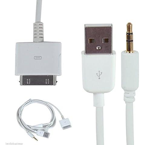 Cavo Dock per auto USB AUX Audio 3,5 mm, cavo di trasferimento dati e caricabatterie USB per iPod/iPhone