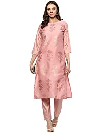 Ziyaa women's Pink Colour Straight polysilk Gold Foil Print Kurta (ZIKUPS2068)