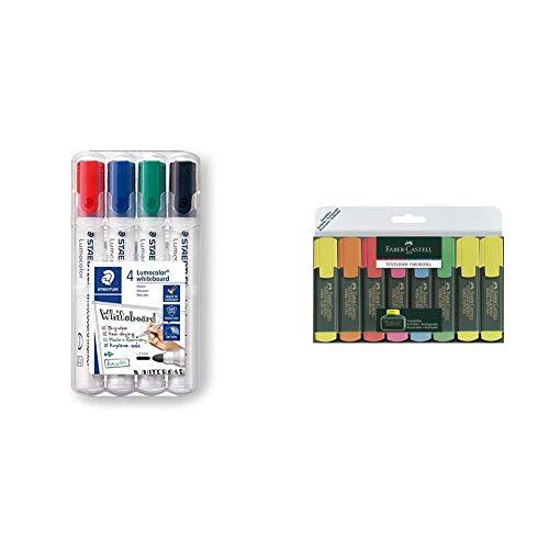 STAEDTLER Lumocolor whiteboard marker, confezione da 4, punta tonda, 351 WP4 & Faber Castell 154862 Evidenziatore Textliner, (Pacco da 8)