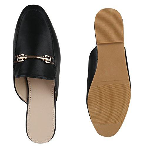 Elegante Damen Slipper Offene Pantoletten Flats Schuhe Schwarz ... 5efbed998f
