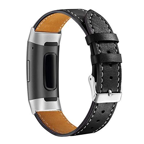 für Fitbit Charge 3 Armband Leder,Lederarmband Fitbit Charge 3 Armbänder Damen Ersatz Band Smartwatch Charge 3 Armband Fitbit Fitness Tracker Zubehör mit mit Schließe für Fitbit Charge 3/Charge 3 SE