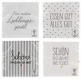 MIK funshopping Servietten 4er-Set Für Meine Lieblingsgäste weiß 80 Stück 3-lagig 33 x 33 cm