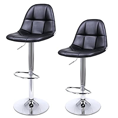 Songmics 2 x Breakfast Bar Stools with Backs White Faux Leather Kitchen Stools - inexpensive UK light shop.