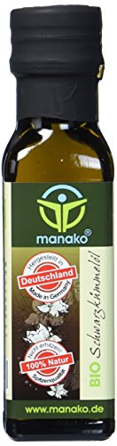 manako BIO Schwarzkümmelöl, kaltgepresst, 100{d6ca91c8346db4df719b1f5a2961606d813c33a6d531d096e11c740eb262c1e4} rein, 100 ml Glasflasche (1 x 0,1 l)