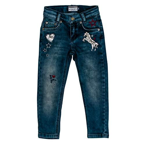 SALT AND PEPPER Mädchen Blue Pferd Pailletten 5 Pocket Jeans, Blau (Original 099), (Herstellergröße: 116)