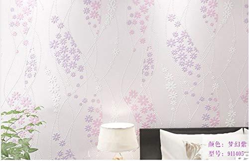 enblumen 3D Relief Vlies Tapeten für Wohnzimmer Schlafzimmer TV Hintergrund Wand Restaurant Küchen Cafe Dekoration, Lila ()
