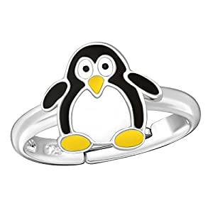 FIVE-D Kinder Ring Pinguin Grösse einstellbar aus 925 Sterling Silber im Schmucketui
