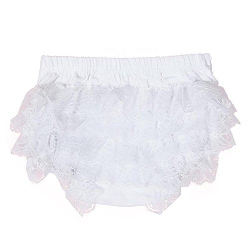 XXYsm Baby Mädchen Schichten Spitzen Trainerhosen Unterwäsche Höschen Solide Lace Kleid Rüsche Hose Pumphose Windel Decken (Weiß, 12-18 Monate)