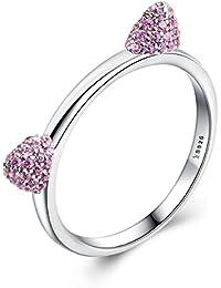 voroco Real 100% plata de ley 925diseño de orejas de orejas de gato Hucha con rosa CZ anillo para las mujeres boda joyería