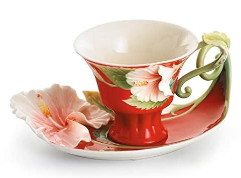 Franz Island Hibiscus Cup Saucer and Spoon Set by Franz