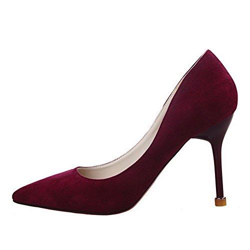 AalarDom Femme à Talon Haut Pointu Tire Chaussures Légeres Rouge Vineux-Suédé