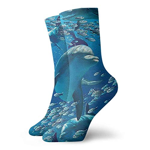Xdevrbk Cute Dolphin Crew Socks Casual Funny for Sports Boot Hiking Running Etc.