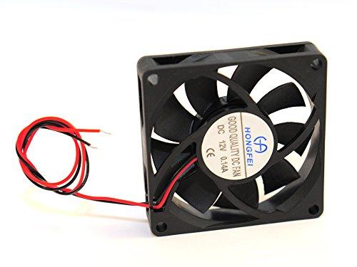 Flüsterleiser, gleitgelagerter 70 x 70 x 15 mm Lüfter DC12V 0.14A, 2 polig Stromanschluß, lose, ohne Stecker zum Löten oder zum Klemmen!