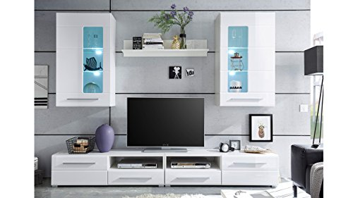 Möbel Akut Wohnwand Enrique 2 Wohnzimmer Anbauwand Front weiß hochglanz 2 Hängevitrinen - 3