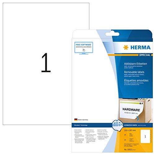 Herma 10021 Universal Etiketten ablösbar, wieder haftend (Format DIN A4 210 x 297 mm) weiß, 25 Klebeetiketten, 25 Blatt Papier matt, bedruckbar, selbstklebend, Movables -