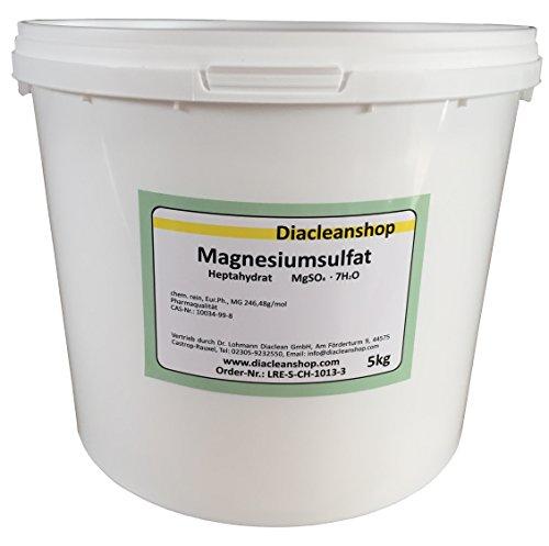 Magnesiumsulfat 5kg - Bittersalz - Epsom Salz - Epsomit - in Pharmaqualität (reiner als Lebensmittelqualität) – Magnesiumbäder