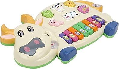Toyshine Cow Musical Piano with 3 Modes Animal Sounds, Flashing Lights & Wonderful Music