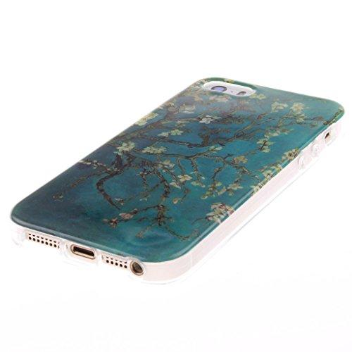 Coque iPhone 5s,Housse iphone 5, Hamyi Etui Souple Slim TPU Silicone Bumper pour Apple iPhone 5 et iPhone 5s (Lion) Abricot fleur