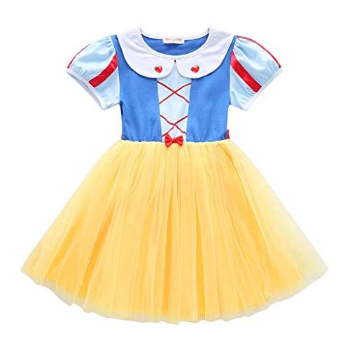 Abito Principessa Biancaneve Carnevale Costumi Snow White Vestito da Ragazza Halloween Natale Cerimonia Abiti Partito Festa Nuziale Compleanno Fiore Nozze Gonna Elegante Battesimo Vest