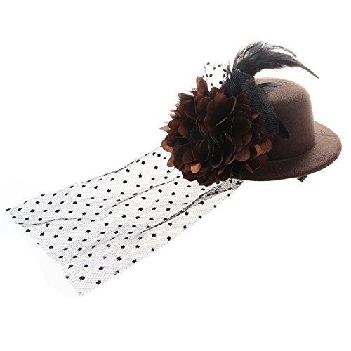 TOOGOO(R) Plume organza Fleur Mini Brun Chapeau haut Pince de Crocodile Barrette fascinateur