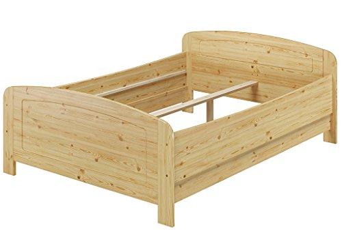 Erst-Holz® Seniorenbett extra hoch 140×200 Doppelbett Holzbett Massivholz Kiefer Bett ohne Zubehör 60.44-14 oR