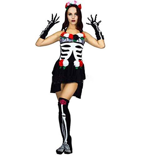 GHLLSAL Ghost Festival Halloween Cosplay Kostüm Maskerade Bühne Party Kleidung Horror Weibliche Erwachsene Skelett Geist Braut Make-up Sexy Fem, Eine Größe