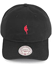 Mitchell & Ness Pitcher Black Red Dribbler Low Pro Logo Cap Strapback Curved Visor, Größe:One Size;Farbe:Schwarz