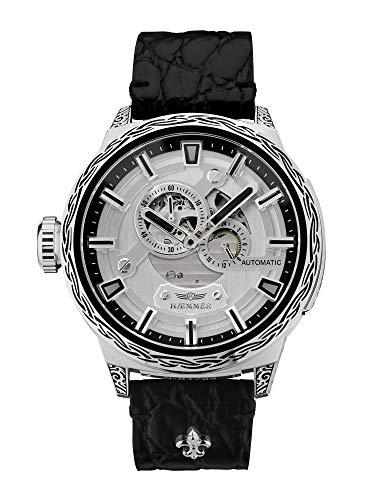 HÆMMER Big Honor Skeleton Automatikuhr Herren aus Edelstahl | Exklusiv Limitierte Herrenuhr mit Kalbsleder Armband | Luxus-Uhr mit Inkgraved veredeltem Gehäuse