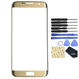 VEKIR Pantalla de reparación de vidrio para Samsung Galaxy S7 Edge (Oro)