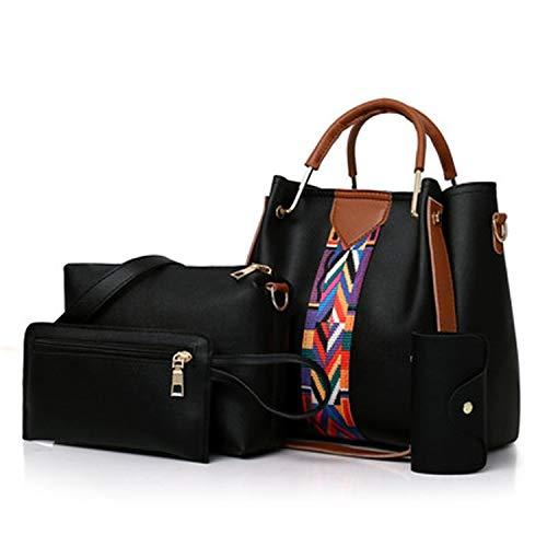 Dark-s 4 PC/set Frauen-Handtaschen 2019 Messenger-Beutel für Damen arbeiten Schulter-Stadtstreicherin-PU-lederne beiläufigen Shopper, Schwarz, 25cm -