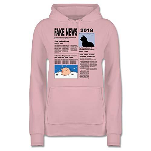 Übergröße Schwein Kostüm - Shirtracer Karneval & Fasching - Fake News 2019 Kostüm Newspaper Zeitung - XL - Hellrosa - JH001F - Damen Hoodie