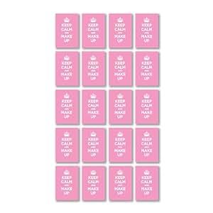 """Paquet de sticker en vinyle brillant maquillage :  KEEP CALM Rose PaSTEL bébé fille WWII Parodie (20 stickers """"4,5 x 3 cm/1,8 x 1,2"""")"""