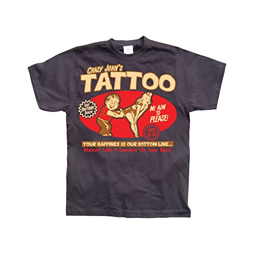 marchandises-sous-licence-funny-crazy-johns-tattoo-hommes-t-shirt-noir-small