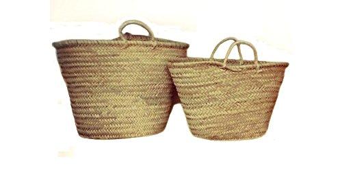 Capazo de Palma Básico, con Asas Corta de Pita. Cesto o Bolso de Mimbre para la Playa, Fibras Naturales. (9V, Aprox. 48x29 cm)