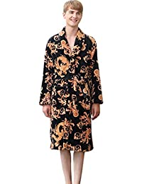 KAXIDY Mens Soft Housecoat Flannel Bathrobe Nightgown Dressing Gown Gents  Warm Winter Style c1f45e8ee