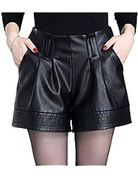 DISSA F6901 Shorts Pantalons Court Taille Haute Grande Taille Cuir PU Femme