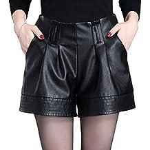 b941c5f09eebc9 Valin VF6901 Damen Pu-Leder Große Größe Hohe Taille Shorts ...