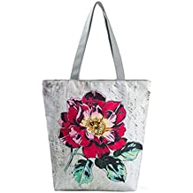 subfa Mily National Wind Estampado Canvas Tote Casual Mujeres Bolsos para la Playa Bolsa de la